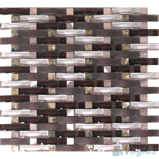 Bistre Arch Wavy Glass Mosaic Tiles VG-UWY91
