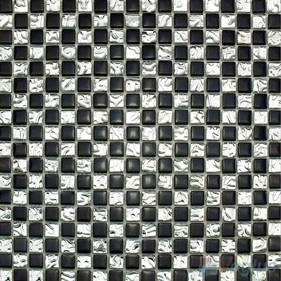 Black 15x15mm Rough Metal Plated Glass Mosaic VG-PTA96
