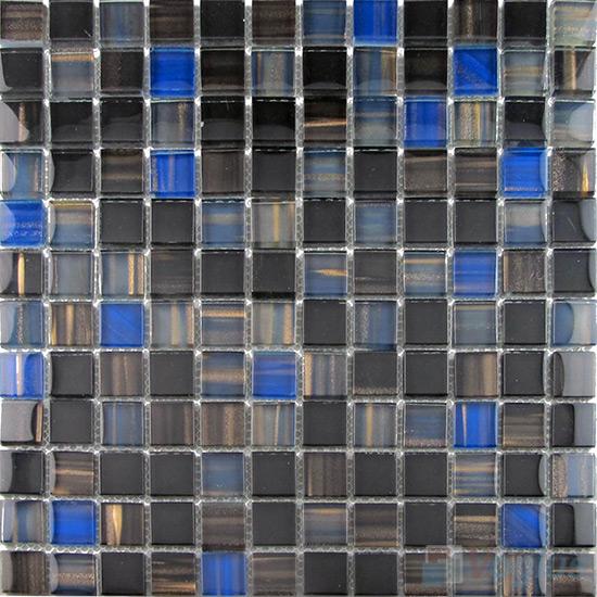 Black 23x23mm Hand Painted Glass Mosaic VG-HPB91