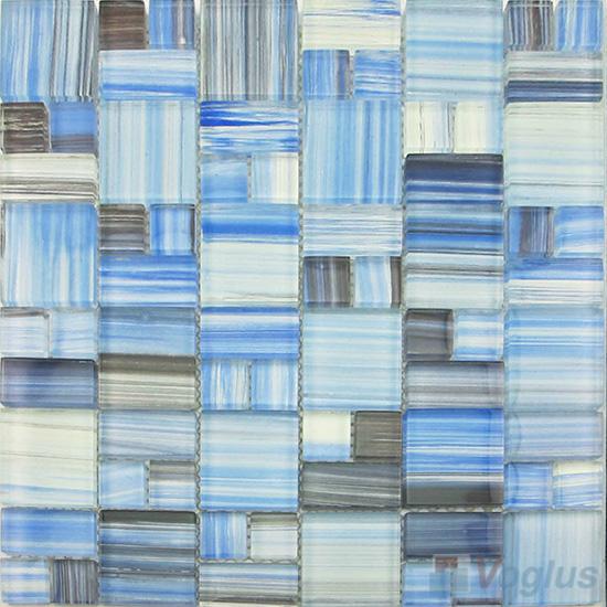 Bleu de France Magic Cube Hand Painted Glass Mosaic Tiles VG-HPM98