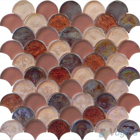 Bole Fan Shape Fish Scale Glass Tiles VG-UFN97