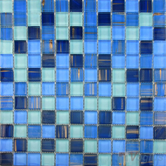 Brandeis Blue 23x23mm Hand Painted Glass Mosaic VG-HPB93