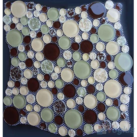 Brown Mixed Pebble Bubble Glass Mosaic Tile VG-UPB95
