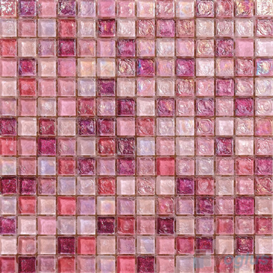 Carnation pink Glazed Iridescent Glass Mosaic VG-RDF93