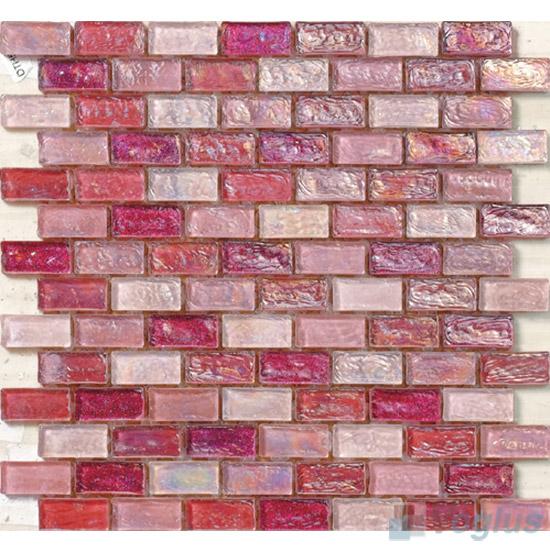 Carnation pink Subway Glazed Iridium Glass Mosaic Tile VG-RDP91
