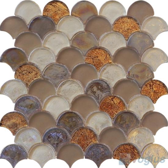 Chamoisee Fan Shape Fish Scale Glass Tiles VG-UFN93