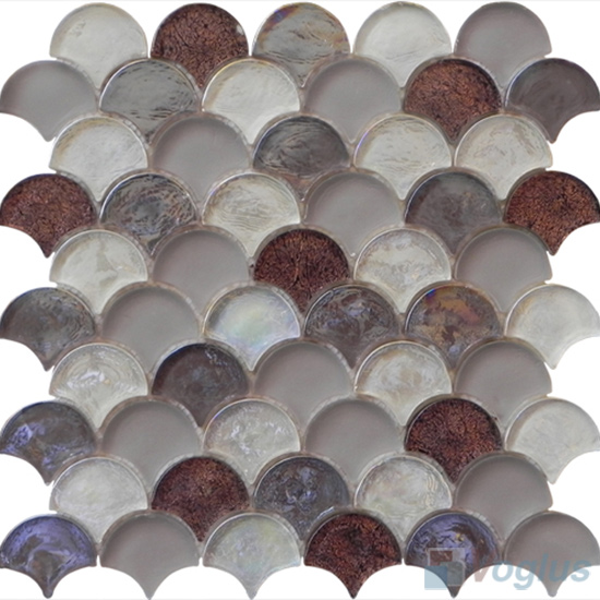 Chocolate Fan Shape Fish Scale Glass Tiles VG-UFN90