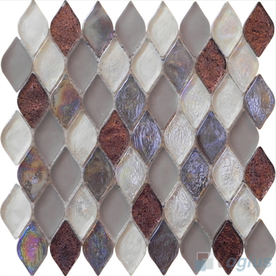 Chocolate Flame Shape Lantern Glass Mosaic Tile VG-UFM90