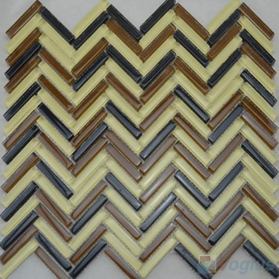 Citrine Herringbone Glass Mosaic Tile VG-UHB99