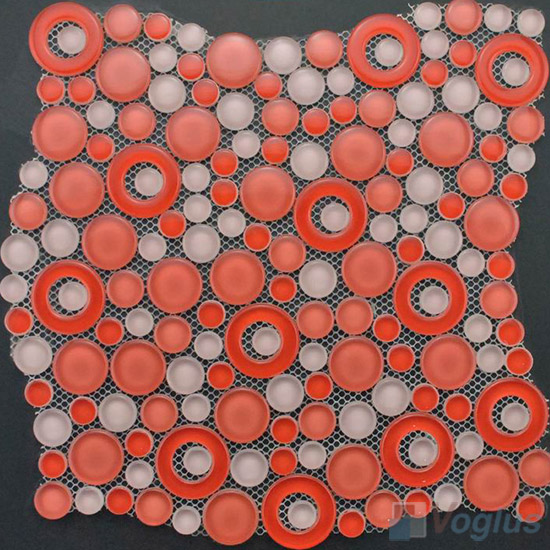 Coral Pink Pebble Bubble Glass Mosaic Tile VG-UPB88