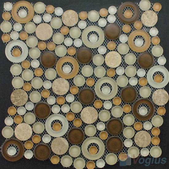 Cream Brown Pebble Bubble Glass Mosaic Tile VG-UPB89
