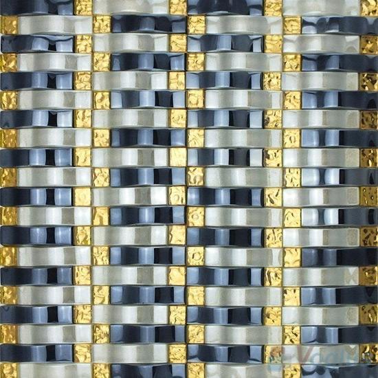 Dark Gray Arch Wavy Glass Mosaic Tiles VG-UWY97