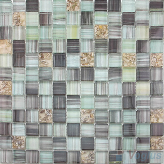 Davy Gray 23x23mm Hand Painted Glass Mosaic VG-HPB86