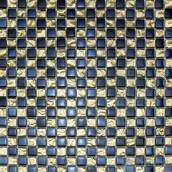 Ecru 15x15mm Rough Metal Plated Glass Mosaic VG-PTA97