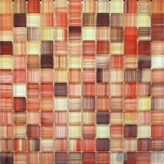 Fire Brick 23x23mm Hand Painted Glass Mosaic VG-HPB99