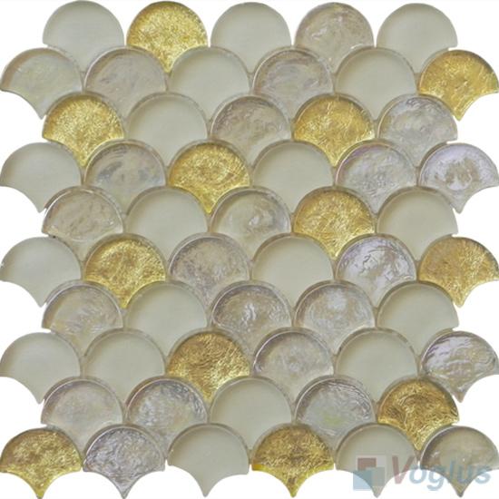 Gold Fan Shape Fish Scale Glass Tiles VG-UFN91