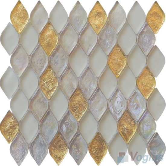 Gold Flame Shape Lantern Glass Mosaic Tile VG-UFM91