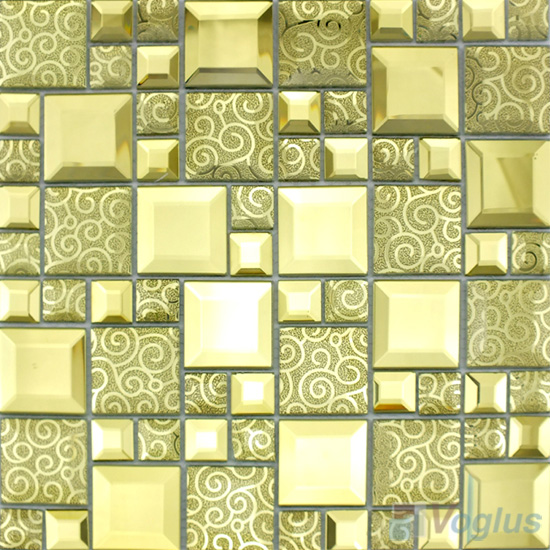 Golden Magic Cube Mirror Glass Mosaic Tiles VG-MRM98