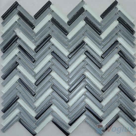 Gray Mixed Herringbone Glass Mosaic Tile VG-UHB97