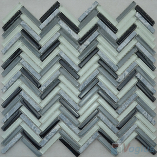 Gray Mixed Herringbone Glass Stone Mosaic Tile VG-UHB93