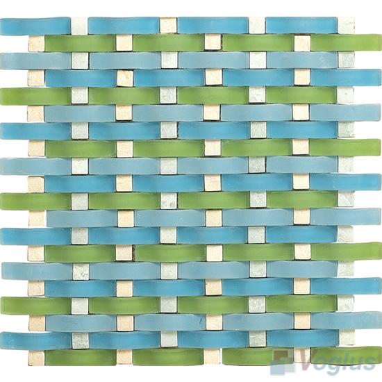Green Blue Arch Wavy Glass Mosaic Tiles VG-UWY88
