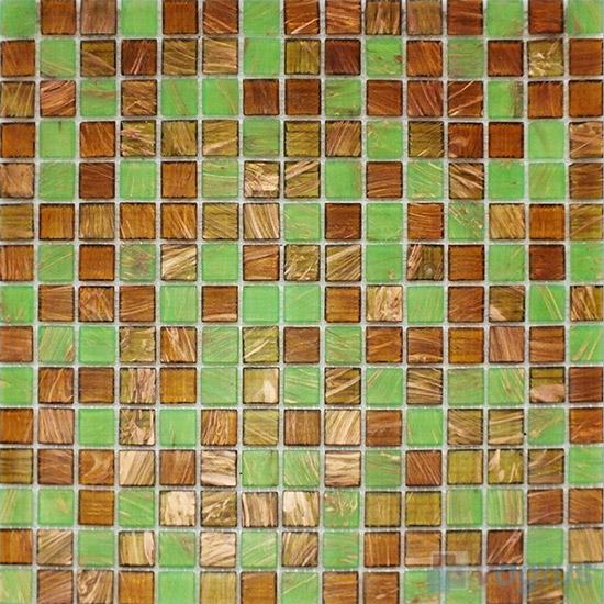 Green-Brown 20x20mm Gold Line Glass Mosaic VG-GLF96