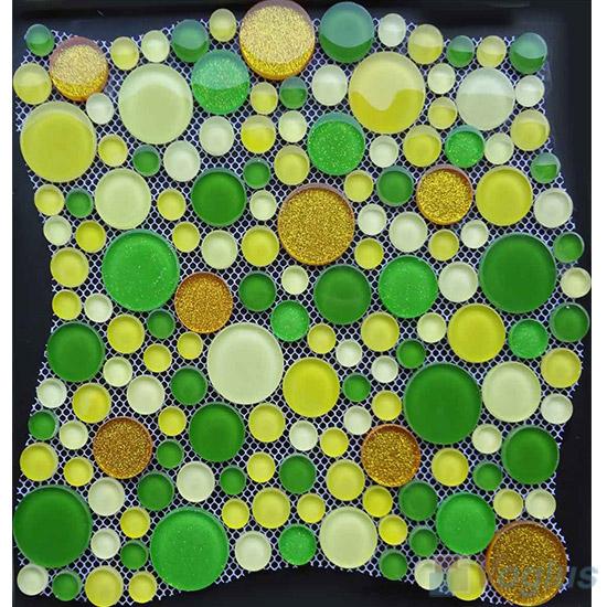 Green Mixed Pebble Bubble Glass Mosaic Tile VG-UPB93