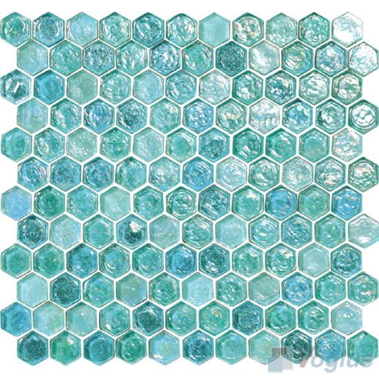 Jungle Green Glazed Hexagonal Glass Mosaic Tiles VG-UHX95