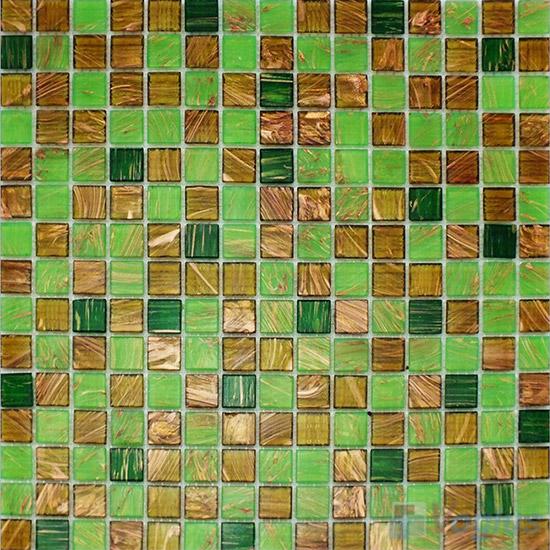 Lawn Green 20x20mm Gold Line Glass Mosaic VG-GLF93
