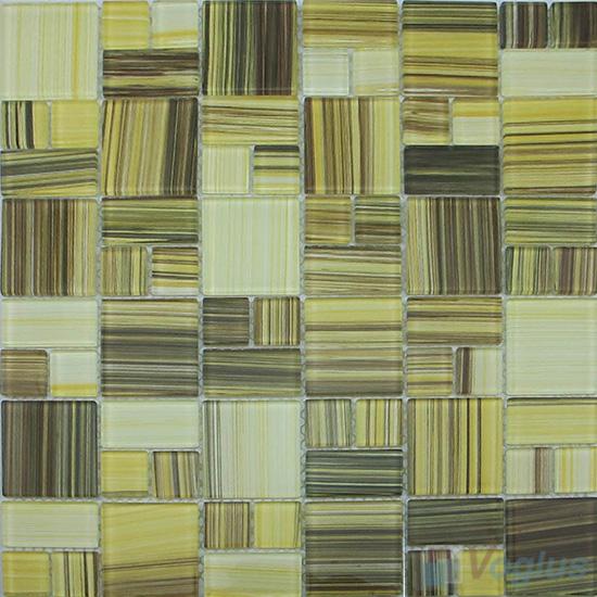 Lemon Chiffon Magic Cube Hand Painted Glass Mosaic Tiles VG-HPM99