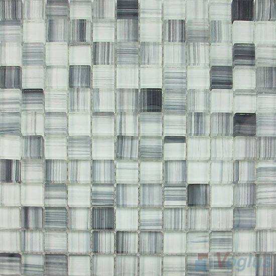 Light Gray 23x23mm Hand Painted Glass Mosaic VG-HPB94