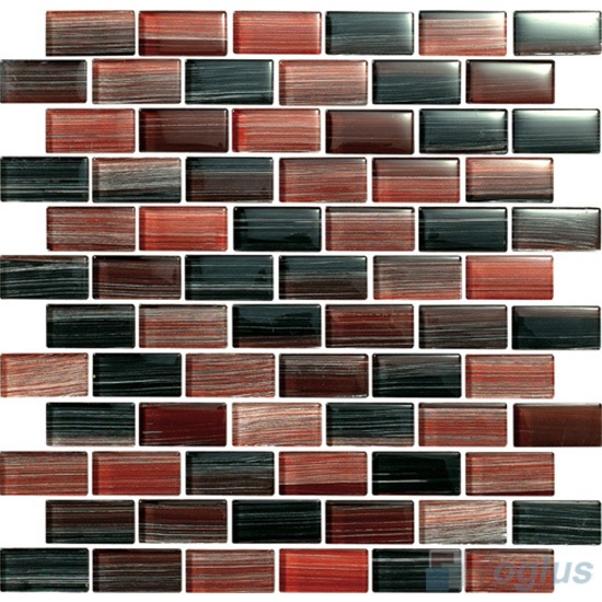 Maroon 1x2 Subway Hand Painted Glass Tile VG-HPD94