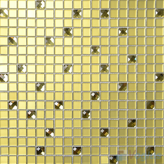 Naples Yellow 15x15mm Frosted Mirror Glass Mosaic Tile VG-MRA98