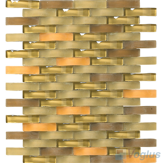 Old Gold Arch Wavy Glass Mosaic Tiles VG-UWY93