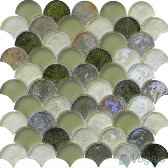 Olive Fan Shape Fish Scale Glass Tiles VG-UFN94
