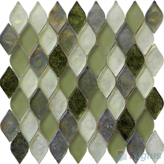 Olive Flame Shape Lantern Glass Mosaic Tile VG-UFM94