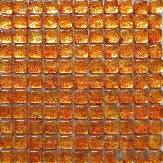 Orange-red Bread Shape Gold Leaf Glass Mosaic Tile VG-UBD95