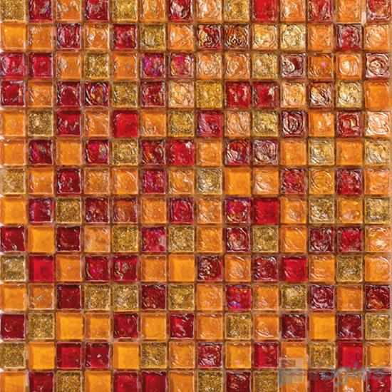 Orange-Red Glazed Iridescent Glass Mosaic VG-RDF99