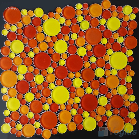 Orange Yellow Pebble Bubble Glass Mosaic Tile VG-UPB99