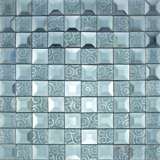 Payne's Gray Trapezia Mirror Glass Mosaic VG-MRB97