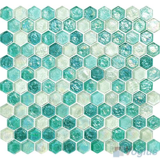 Persian Green Glazed Hexagonal Glass Mosaic Tiles VG-UHX97