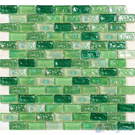 Pistachio Subway Glazed Iridium Glass Mosaic Tile VG-RDP99