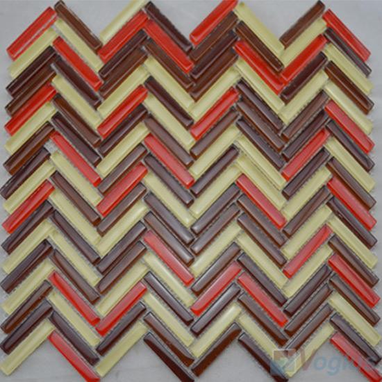 Red Brown Herringbone Glass Mosaic Tile VG-UHB98