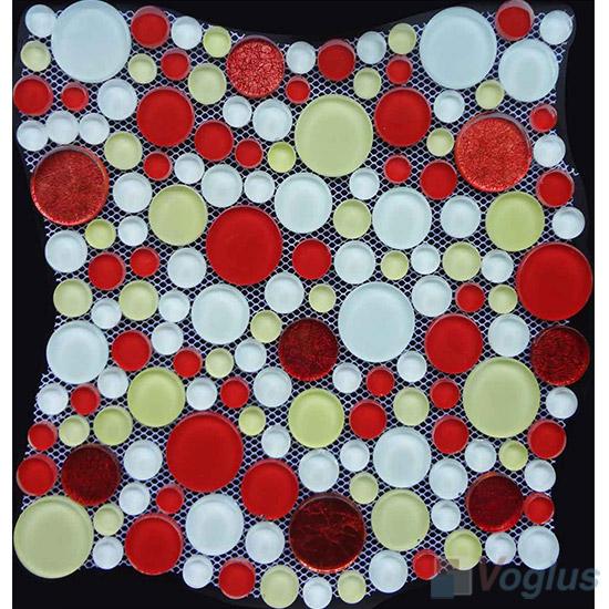 Red Mixed Pebble Bubble Glass Mosaic Tile VG-UPB96