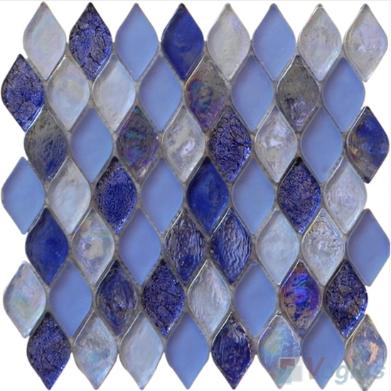 Royal Blue Flame Shape Lantern Glass Mosaic Tile VG-UFM98