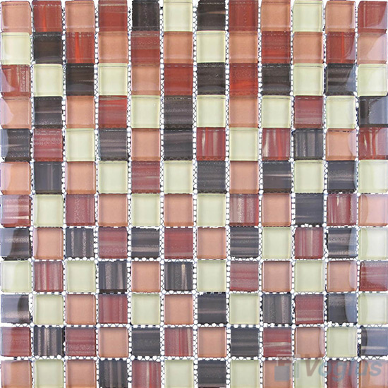 Rufous 23x23mm Hand Painted Glass Mosaic VG-HPB92