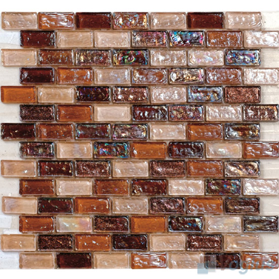 Rust Subway Glazed Iridium Glass Mosaic Tile VG-RDP96