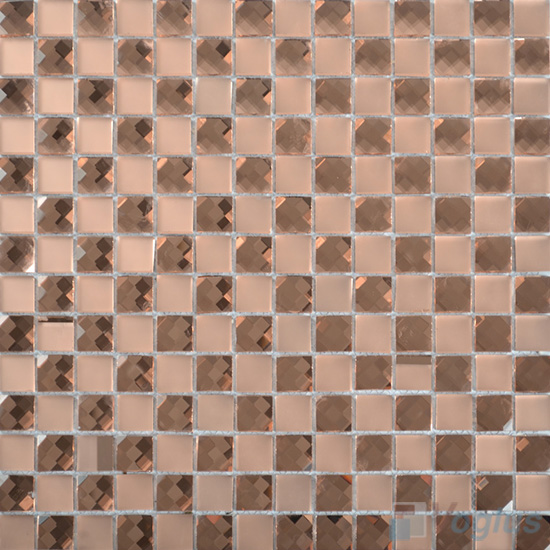 Salmon 20x20mm Jewel Mirror Glass Mosaic Tile VG-MRF99
