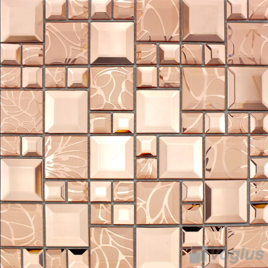 Salmon Magic Cube Mirror Glass Mosaic Tiles VG-MRM97