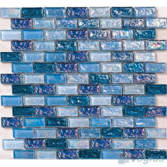 Sapphire Subway Glazed Iridium Glass Mosaic Tile VG-RDP98